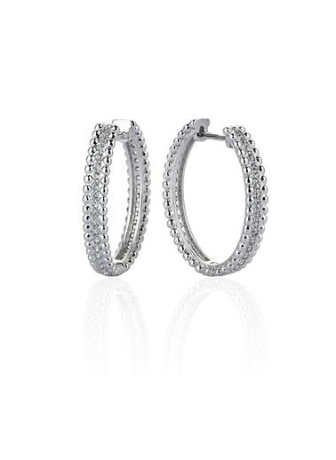 1,2 Ct Pırlanta Efekt Lanyard Hoop Altın Küpe-Tophills Diamond Co.